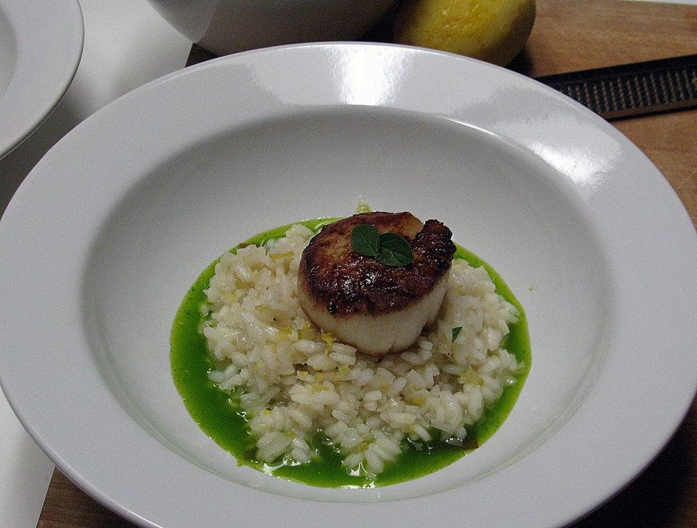 Scallops, Meyer Lemon Risotto and Parsley Oil | Oven-Dried Tomatoes