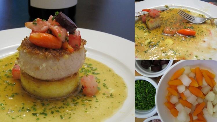 Pork Cheek-Polenta-Glazed Vegetables