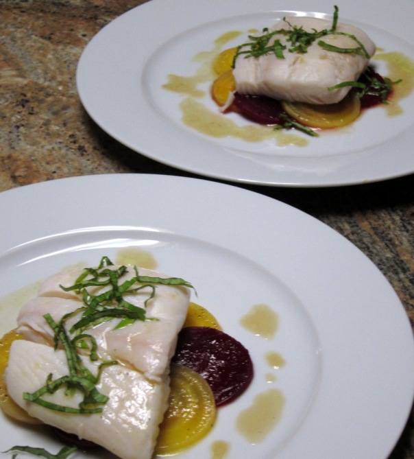 Poached Halibut, Sweet and Sour Beets and Citrus-Coriander Oil ...