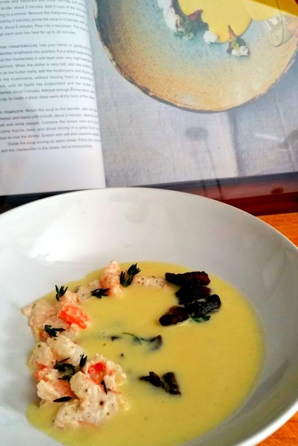 Corn Soup-Shrimp-Mushroom